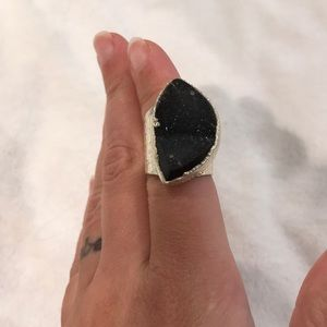 Black/gray druzy and silver adjustable ring